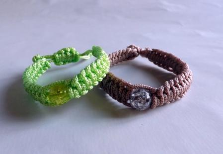 Coton et perle vert pomme et marron