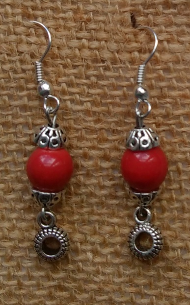 Boucles perle rouge