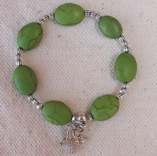 Bracelet galet vert
