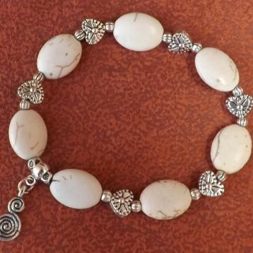 Bracelet galet blanc